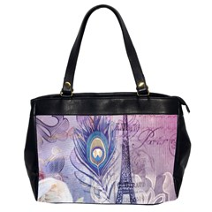 Peacock Feather White Rose Paris Eiffel Tower Oversize Office Handbag (two Sides) by chicelegantboutique