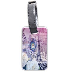 Peacock Feather White Rose Paris Eiffel Tower Luggage Tag (two Sides) by chicelegantboutique
