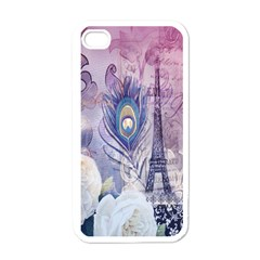 Peacock Feather White Rose Paris Eiffel Tower Apple Iphone 4 Case (white) by chicelegantboutique