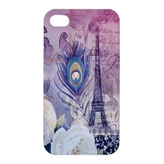 Peacock Feather White Rose Paris Eiffel Tower Apple Iphone 4/4s Hardshell Case by chicelegantboutique
