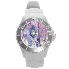 Peacock Feather White Rose Paris Eiffel Tower Plastic Sport Watch (large) by chicelegantboutique