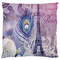 Peacock Feather White Rose Paris Eiffel Tower Large Cushion Case (two Sided)  by chicelegantboutique