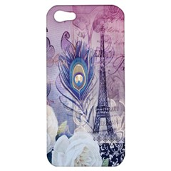 Peacock Feather White Rose Paris Eiffel Tower Apple Iphone 5 Hardshell Case by chicelegantboutique