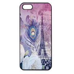 Peacock Feather White Rose Paris Eiffel Tower Apple Iphone 5 Seamless Case (black) by chicelegantboutique