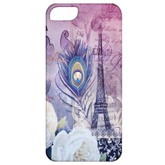 Peacock Feather White Rose Paris Eiffel Tower Apple Iphone 5 Classic Hardshell Case by chicelegantboutique