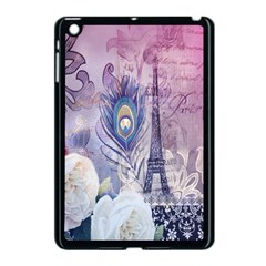 Peacock Feather White Rose Paris Eiffel Tower Apple Ipad Mini Case (black) by chicelegantboutique
