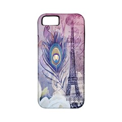 Peacock Feather White Rose Paris Eiffel Tower Apple Iphone 5 Classic Hardshell Case (pc+silicone) by chicelegantboutique