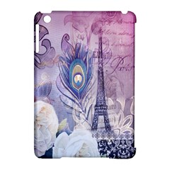 Peacock Feather White Rose Paris Eiffel Tower Apple Ipad Mini Hardshell Case (compatible With Smart Cover) by chicelegantboutique