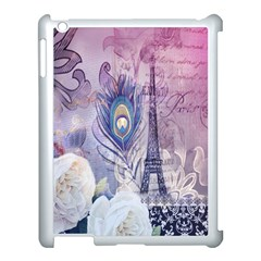 Peacock Feather White Rose Paris Eiffel Tower Apple Ipad 3/4 Case (white) by chicelegantboutique