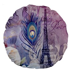 Peacock Feather White Rose Paris Eiffel Tower 18  Premium Round Cushion  by chicelegantboutique