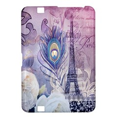 Peacock Feather White Rose Paris Eiffel Tower Kindle Fire Hd 8 9  Hardshell Case by chicelegantboutique