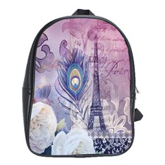 Peacock Feather White Rose Paris Eiffel Tower School Bag (xl) by chicelegantboutique
