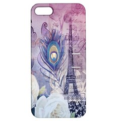 Peacock Feather White Rose Paris Eiffel Tower Apple Iphone 5 Hardshell Case With Stand by chicelegantboutique