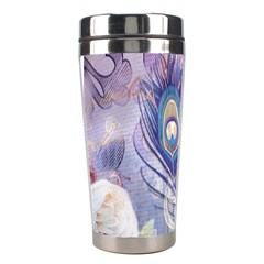Peacock Feather White Rose Paris Eiffel Tower Stainless Steel Travel Tumbler by chicelegantboutique
