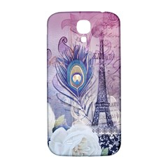 Peacock Feather White Rose Paris Eiffel Tower Samsung Galaxy S4 I9500/i9505  Hardshell Back Case by chicelegantboutique