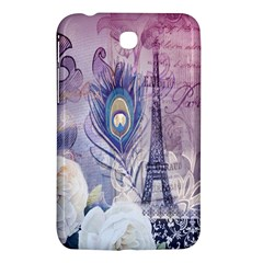 Peacock Feather White Rose Paris Eiffel Tower Samsung Galaxy Tab 3 (7 ) P3200 Hardshell Case