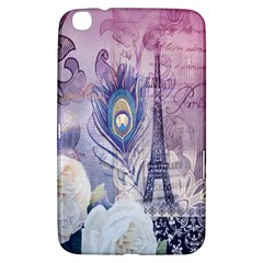 Peacock Feather White Rose Paris Eiffel Tower Samsung Galaxy Tab 3 (8 ) T3100 Hardshell Case  by chicelegantboutique
