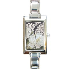 Elegant White Rose Vintage Damask Rectangular Italian Charm Watch by chicelegantboutique