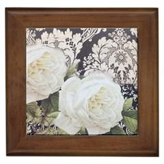 Elegant White Rose Vintage Damask Framed Ceramic Tile by chicelegantboutique