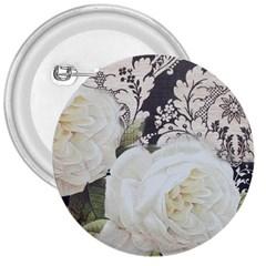 Elegant White Rose Vintage Damask 3  Button by chicelegantboutique