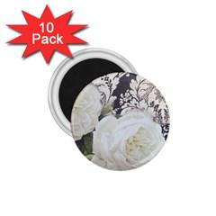 Elegant White Rose Vintage Damask 1 75  Button Magnet (10 Pack) by chicelegantboutique