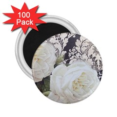 Elegant White Rose Vintage Damask 2 25  Button Magnet (100 Pack) by chicelegantboutique