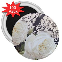 Elegant White Rose Vintage Damask 3  Button Magnet (100 Pack)