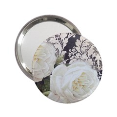 Elegant White Rose Vintage Damask Handbag Mirror (2 25 ) by chicelegantboutique