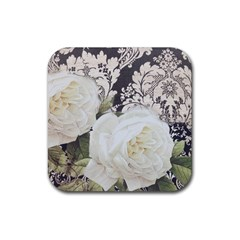 Elegant White Rose Vintage Damask Drink Coaster (square) by chicelegantboutique