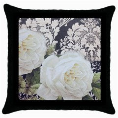 Elegant White Rose Vintage Damask Black Throw Pillow Case by chicelegantboutique