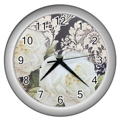 Elegant White Rose Vintage Damask Wall Clock (silver)