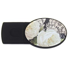 Elegant White Rose Vintage Damask 4gb Usb Flash Drive (oval) by chicelegantboutique