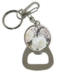 Elegant White Rose Vintage Damask Bottle Opener Key Chain by chicelegantboutique