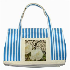 Elegant White Rose Vintage Damask Blue Striped Tote Bag by chicelegantboutique