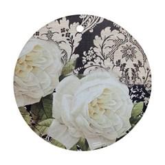 Elegant White Rose Vintage Damask Round Ornament (two Sides) by chicelegantboutique