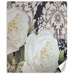 Elegant White Rose Vintage Damask Canvas 8  X 10  (unframed) by chicelegantboutique