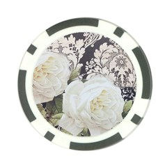 Elegant White Rose Vintage Damask Poker Chip by chicelegantboutique