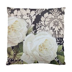 Elegant White Rose Vintage Damask Cushion Case (two Sided)