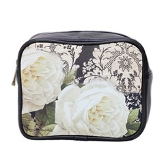 Elegant White Rose Vintage Damask Mini Travel Toiletry Bag (two Sides) by chicelegantboutique