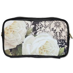 Elegant White Rose Vintage Damask Travel Toiletry Bag (two Sides) by chicelegantboutique