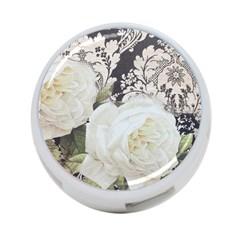 Elegant White Rose Vintage Damask 4 Port Usb Hub (two Sides) by chicelegantboutique