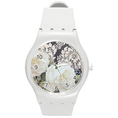 Elegant White Rose Vintage Damask Plastic Sport Watch (medium) by chicelegantboutique