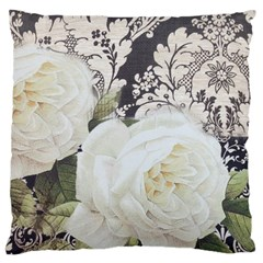 Elegant White Rose Vintage Damask Large Cushion Case (two Sided)  by chicelegantboutique