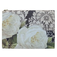 Elegant White Rose Vintage Damask Cosmetic Bag (xxl)