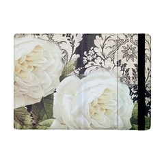 Elegant White Rose Vintage Damask Apple Ipad Mini Flip Case by chicelegantboutique