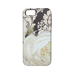 Elegant White Rose Vintage Damask Apple Iphone 5 Classic Hardshell Case (pc+silicone) by chicelegantboutique