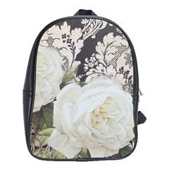 Elegant White Rose Vintage Damask School Bag (xl) by chicelegantboutique