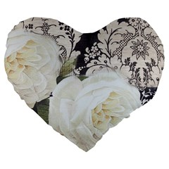 Elegant White Rose Vintage Damask 19  Premium Heart Shape Cushion by chicelegantboutique