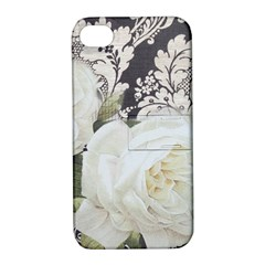 Elegant White Rose Vintage Damask Apple Iphone 4/4s Hardshell Case With Stand by chicelegantboutique
