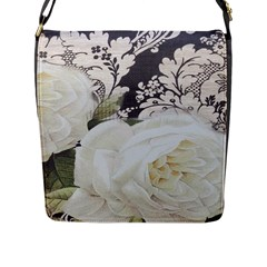 Elegant White Rose Vintage Damask Flap Closure Messenger Bag (large) by chicelegantboutique